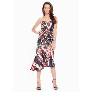 Parker Black Floral Strapless Wendy Midi Dress NWT